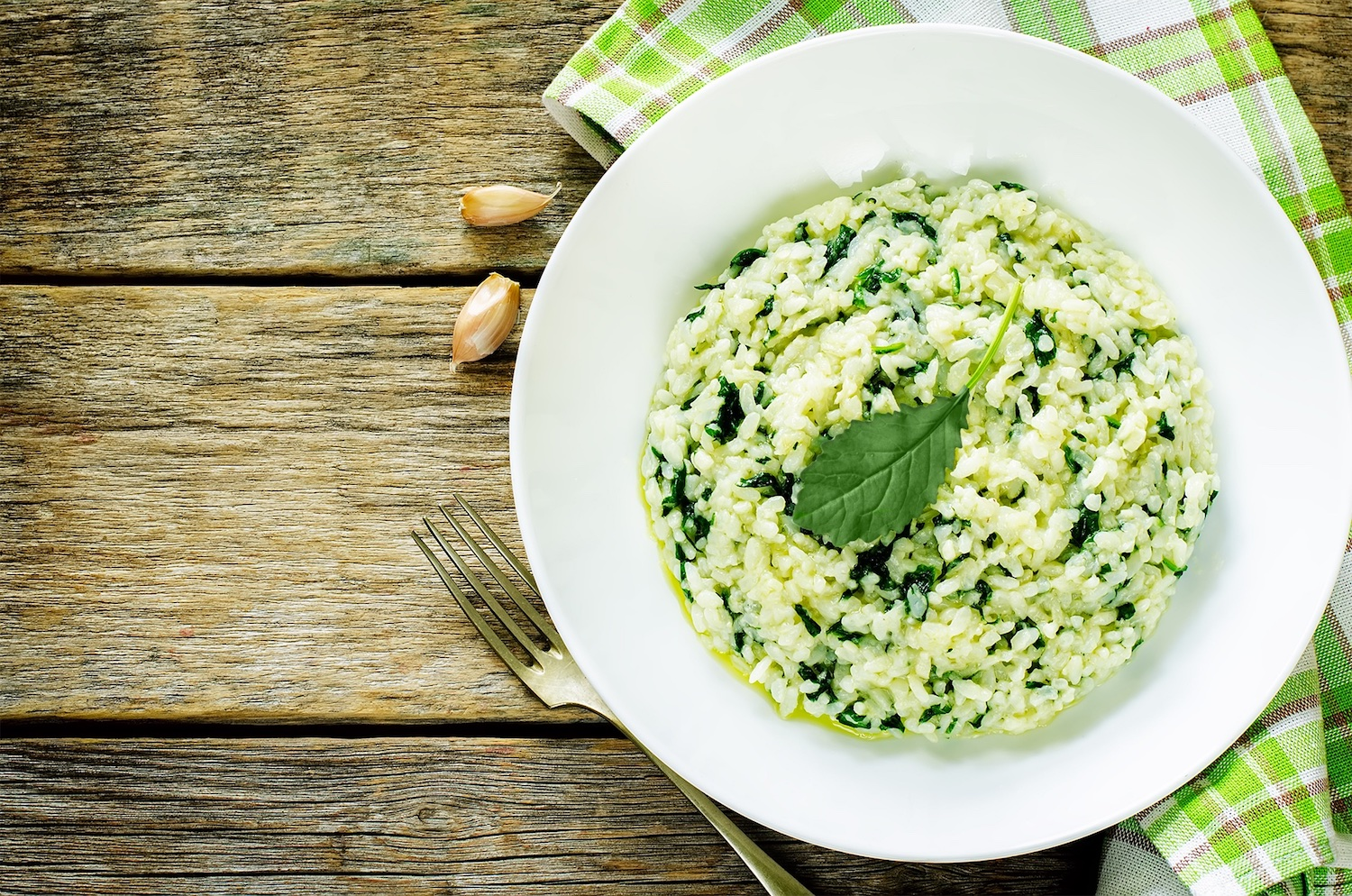 Baby kale risotto with toasted pine nuts