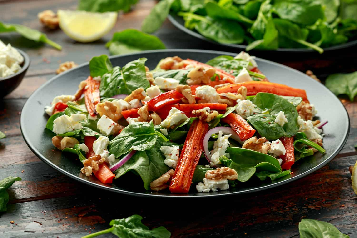 Roasted Carrot Salad with Spinach, Feta Cheese and Walnuts