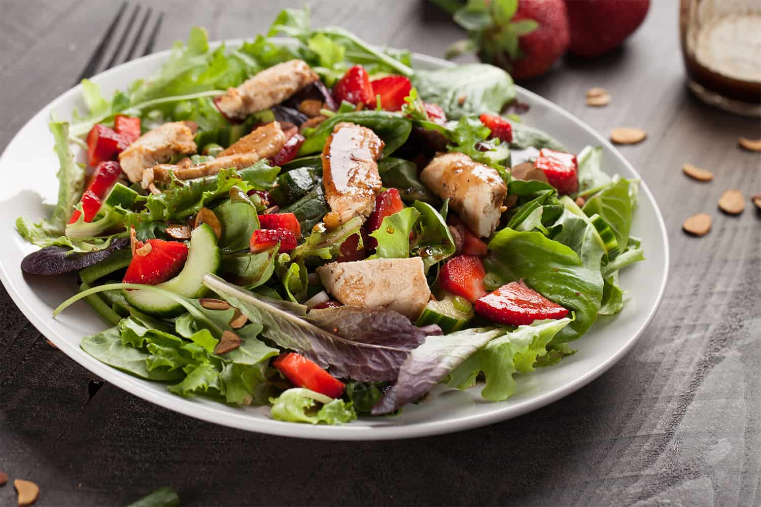 Spring Mix Salad with Balsamic Honey Glazed Chicken