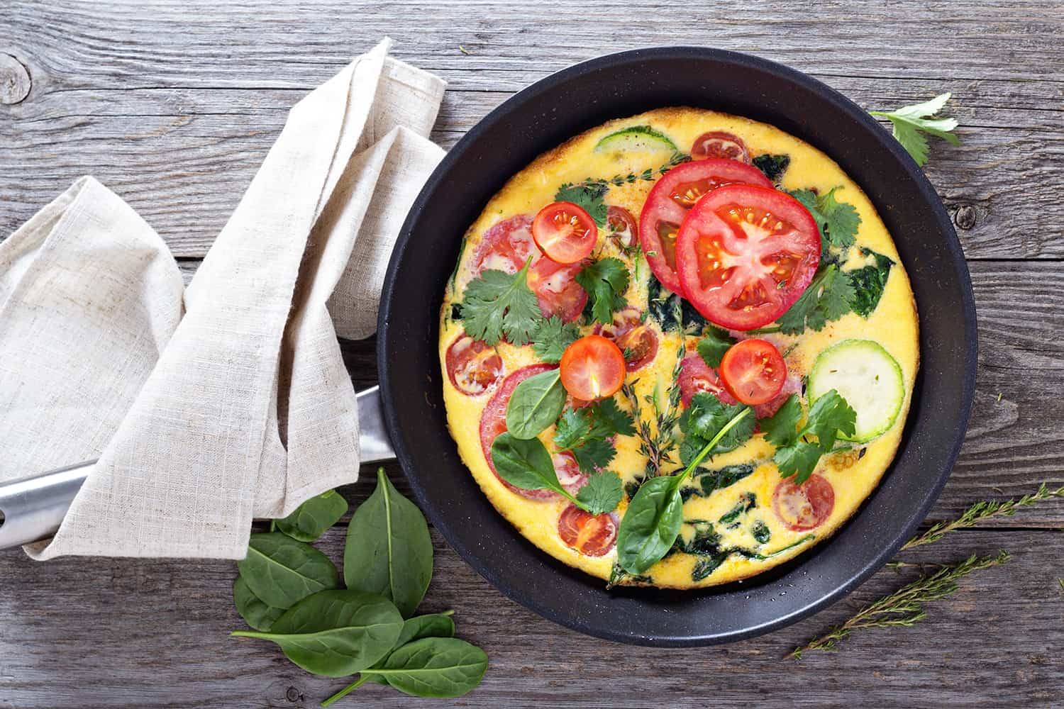 Spinach and Garden Vegetables Frittata
